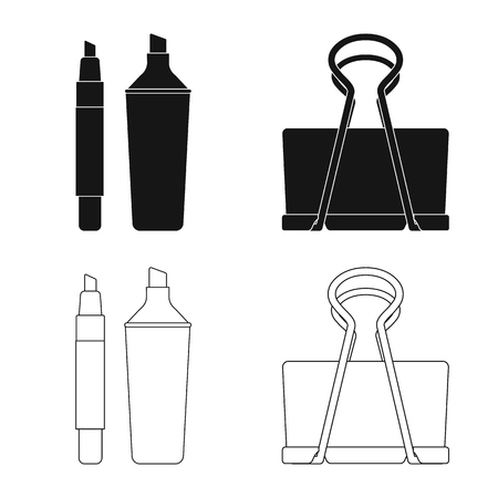Vector illustration of office and supply icon. Collection of office and school stock vector illustration.