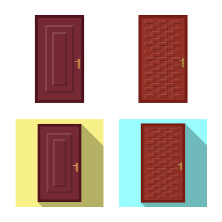 Vector illustration of door and front icon. Collection of door and wooden stock symbol for web. Ilustrace