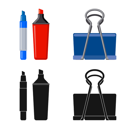 Isolated object of office and supply symbol. Collection of office and school vector icon for stock.