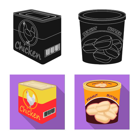 Vector illustration of can and food icon. Set of can and package vector icon for stock. Illustration