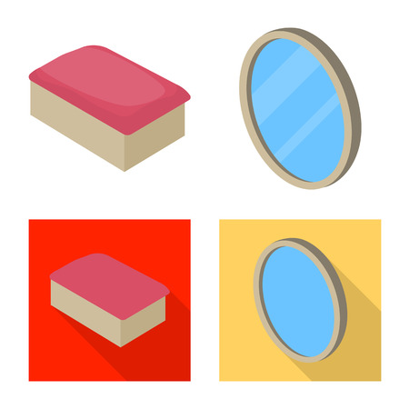 Vector design of bedroom and room icon. Collection of bedroom and furniture vector icon for stock.