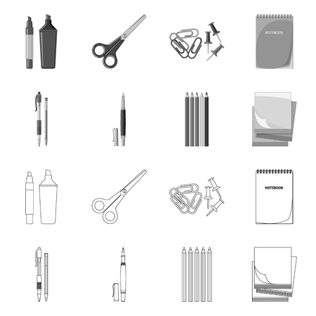 Vector design of office and supply symbol. Collection of office and school stock vector illustration. Ilustração Vetorial