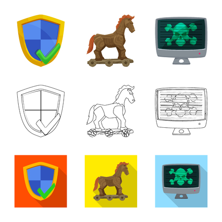 Vector design of virus and secure sign. Collection of virus and cyber stock symbol for web.