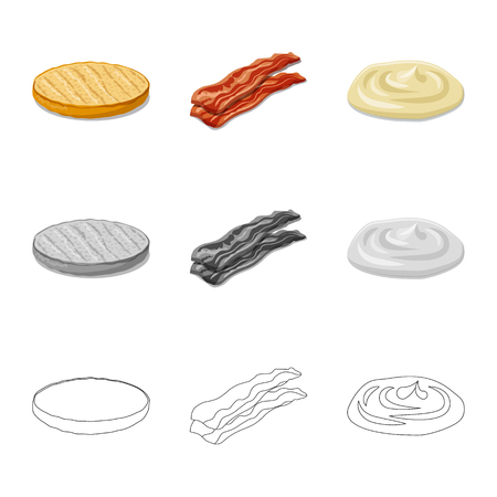 Isolated object of burger and sandwich symbol. Set of burger and slice stock vector illustration.