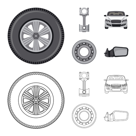 Vector illustration of auto and part icon. Collection of auto and car stock symbol for web.