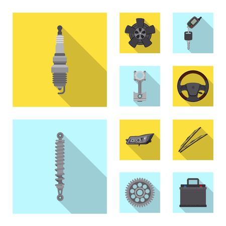 Vector design of auto and part sign. Set of auto and car stock vector illustration.