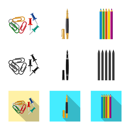Vector design of office and supply symbol. Set of office and school stock symbol for web.