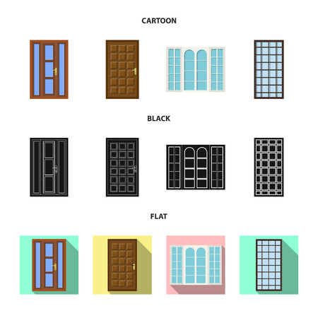 Vector design of door and front icon. Collection of door and wooden stock symbol for web.