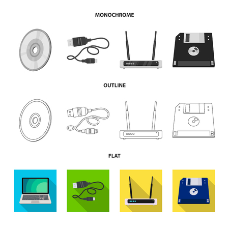 Vector design of laptop and device sign. Set of laptop and server vector icon for stock.