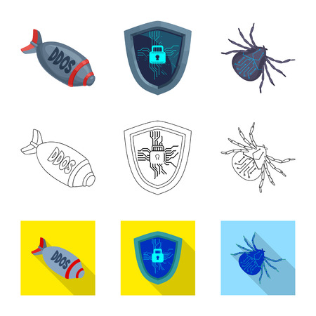 Isolated object of virus and secure sign. Set of virus and cyber vector icon for stock.