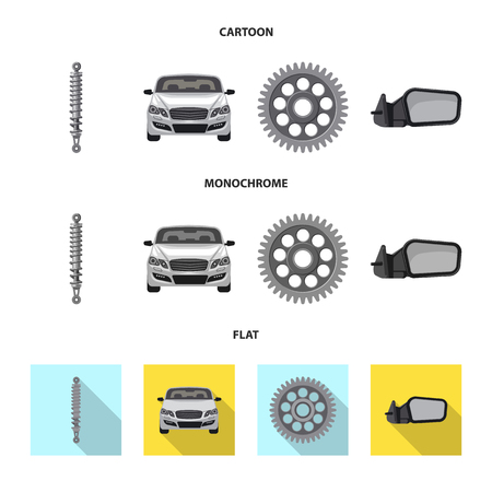Vector illustration of auto and part sign. Set of auto and car vector icon for stock. Standard-Bild - 113405767