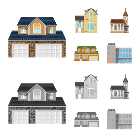 Vector design of building and front sign. Collection of building and roof stock vector illustration. Ilustração