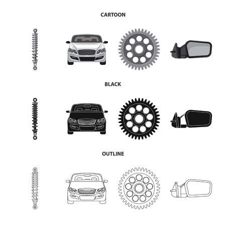 Vector illustration of auto and part symbol. Set of auto and car stock symbol for web. Standard-Bild - 113406363