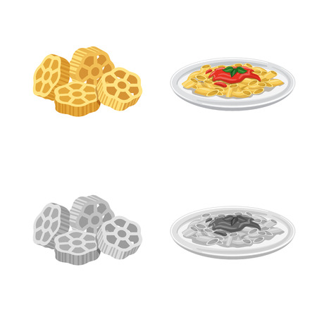 Isolated object of pasta and carbohydrate logo. Collection of pasta and macaroni vector icon for stock.