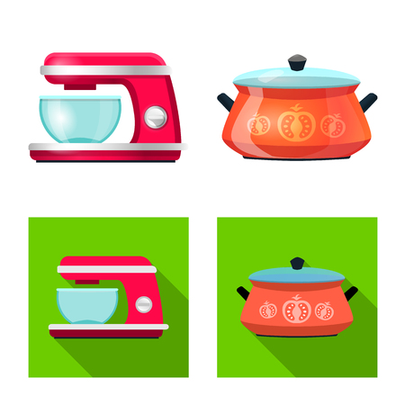 Vector illustration of kitchen and cook logo. Set of kitchen and appliance stock symbol for web.