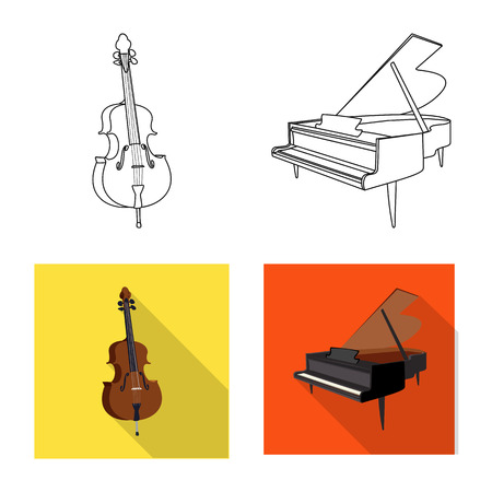 Vector design of music and tune sign. Collection of music and tool stock vector illustration. Illustration