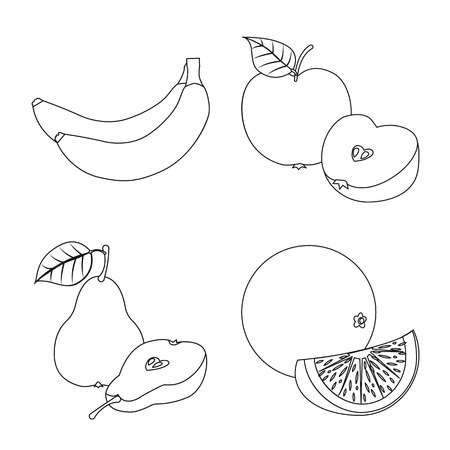 Vector design of vegetable and fruit sign. Collection of vegetable and vegetarian stock symbol for web.