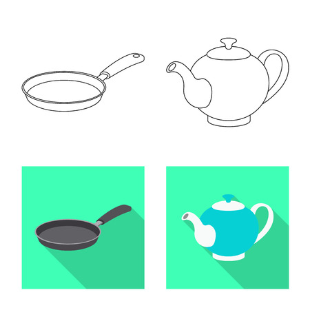 Isolated object of kitchen and cook sign. Collection of kitchen and appliance vector icon for stock.