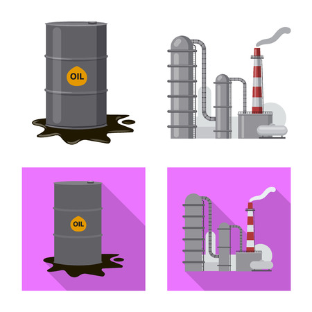 Vector illustration of oil and gas sign. Set of oil and petrol vector icon for stock.