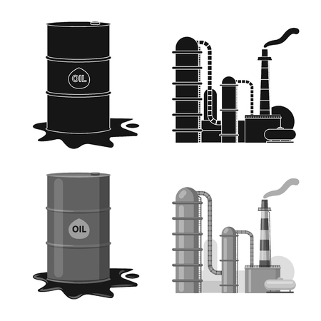 Isolated object of oil and gas icon. Collection of oil and petrol stock vector illustration.