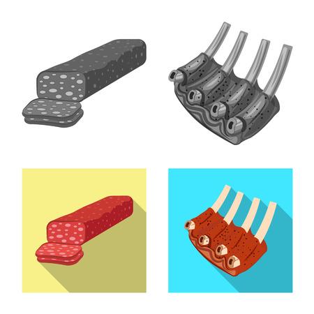 Vectorontwerp van vlees en hamembleem. Set van vlees en koken vector pictogram voor voorraad.