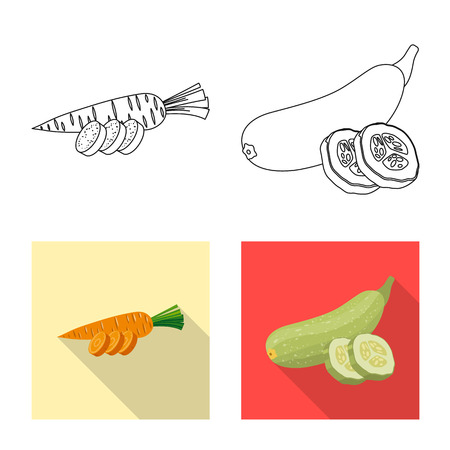 Isolated object of vegetable and fruit icon. Collection of vegetable and vegetarian stock vector illustration.