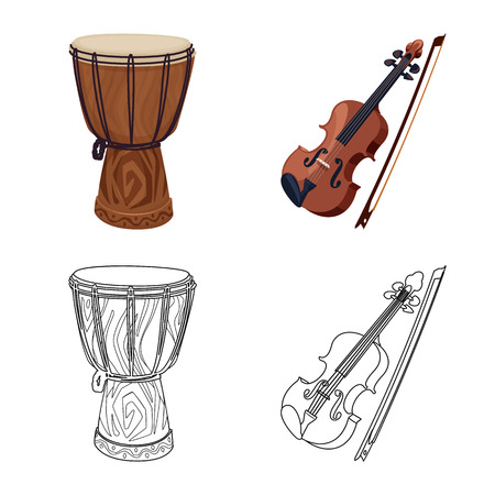 Isolated object of music and tune symbol. Collection of music and tool vector icon for stock. Banque d'images - 113408540