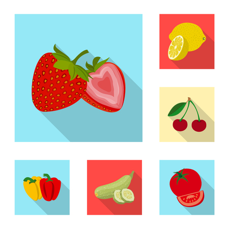 Vector illustration of vegetable and fruit symbol. Collection of vegetable and vegetarian stock vector illustration. Stock Illustratie