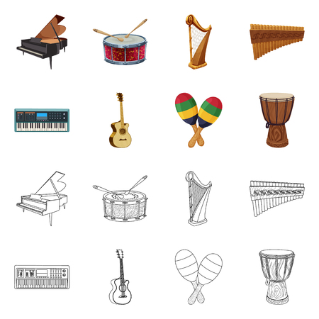 Vector design of music and tune sign. Collection of music and tool vector icon for stock. Ilustração