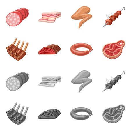 Isolated object of meat and ham logo. Collection of meat and cooking stock symbol for web.