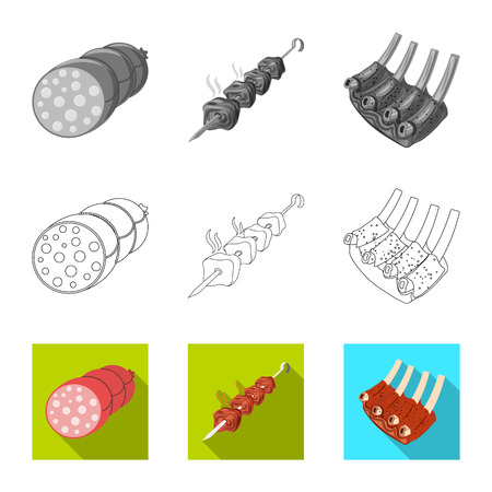 Vector design of meat and ham icon. Set of meat and cooking vector icon for stock. Illustration