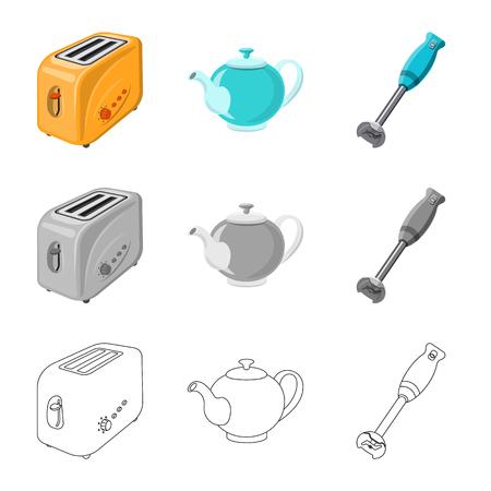 Vector ontwerp van keuken en kok symbool. Set van keuken en apparaat aandelensymbool voor web.