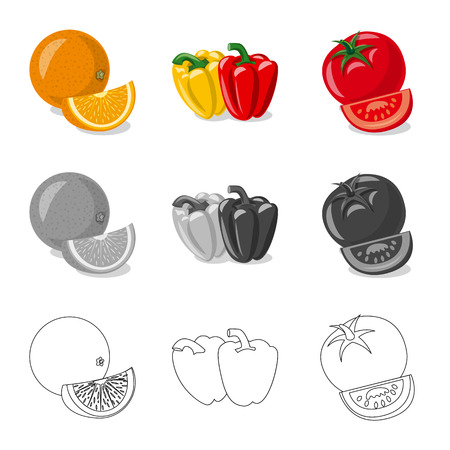 Vector illustration of vegetable and fruit symbol. Collection of vegetable and vegetarian vector icon for stock.