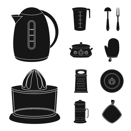 Vector illustration of kitchen and cook icon. Collection of kitchen and appliance stock symbol for web. 일러스트