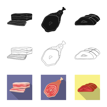 Vector design of meat and ham icon. Set of meat and cooking stock symbol for web.