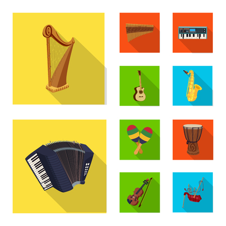 Vector illustration of music and tune symbol. Set of music and tool stock vector illustration.