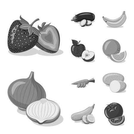 Vector illustration of vegetable and fruit logo. Set of vegetable and vegetarian stock symbol for web. Ilustracja