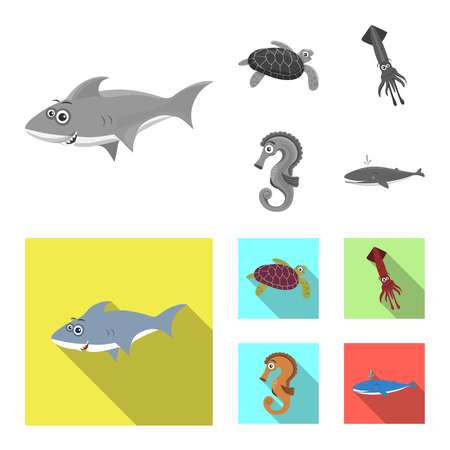 Vector design of sea and animal symbol. Collection of sea and marine vector icon for stock. 矢量图像
