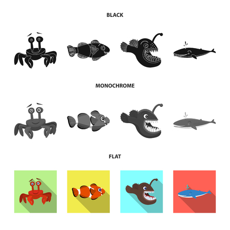 Vector design of sea and animal sign. Collection of sea and marine stock symbol for web. 向量圖像