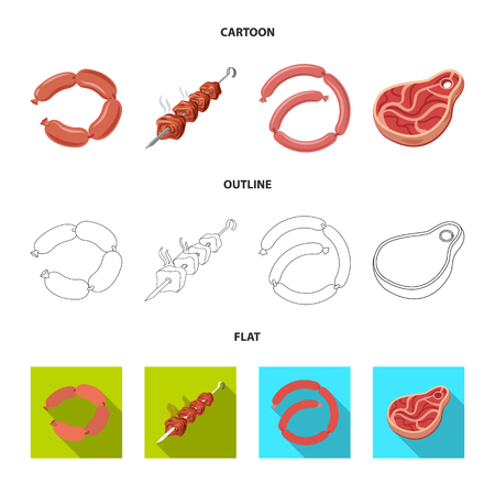 Vector illustration of meat and ham symbol. Collection of meat and cooking stock symbol for web.