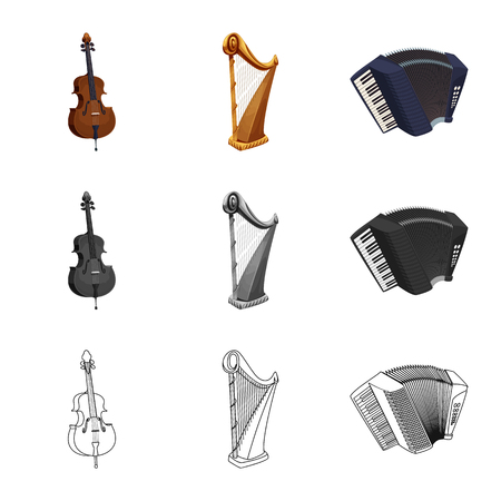 Isolated object of music and tune logo. Set of music and tool stock vector illustration.