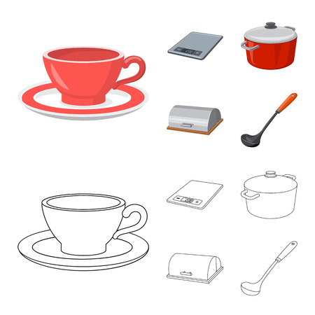 Isolated object of kitchen and cook logo. Set of kitchen and appliance vector icon for stock.