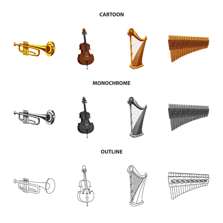 Isolated object of music and tune symbol. Collection of music and tool vector icon for stock. Illustration