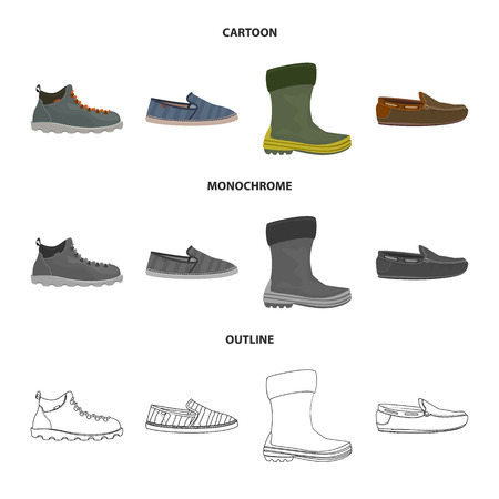 Vector design of shoe and footwear logo. Collection of shoe and foot stock symbol for web.