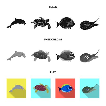 Objeto aislado del logo de mar y animales. Conjunto de símbolo de mar y marinos para web. Logos