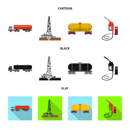 Vector illustration of oil and gas icon. Collection of oil and petrol vector icon for stock. Çizim