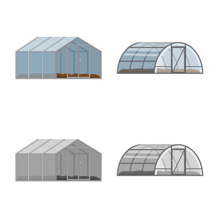 Vector illustration of greenhouse and plant symbol. Set of greenhouse and garden stock symbol for web.