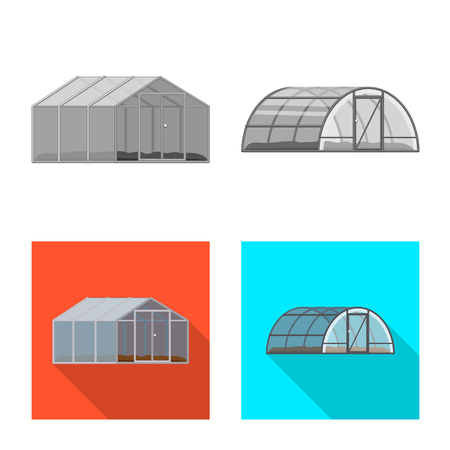 Vector illustration of greenhouse and plant symbol. Collection of greenhouse and garden stock symbol for web. Illustration