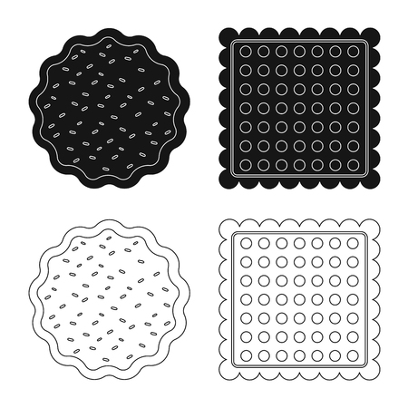 Vector illustration of biscuit and bake sign. Set of biscuit and chocolate stock symbol for web. Illustration