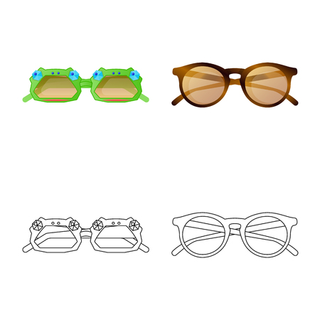 Vector illustration of glasses and sunglasses logo. Collection of glasses and accessory stock symbol for web.